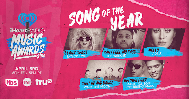 taylor swift iheartradion awards 2016 nominations